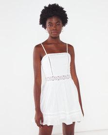 London Hub Fashion Lace Trim Cami Strap Mini Dress White