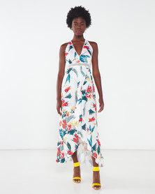 London Hub Fashion Tropical Print Lace Trim Wrap Front Halter Back Maxi Dress  White