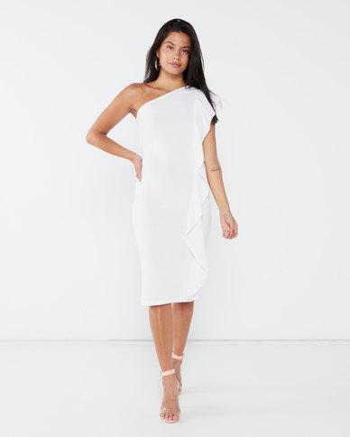 London Hub Fashion Frill Detail One Shoulder Bodycon Midi Dress White