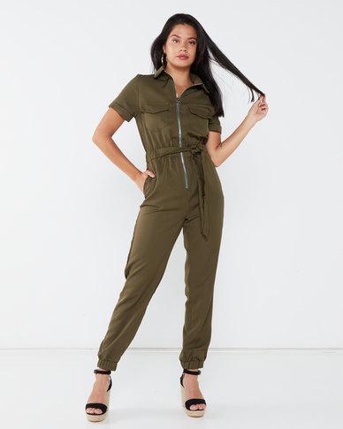 London Hub Fashion Zip Front Short Sleeve Belted Utility Jumpsuit Khaki
