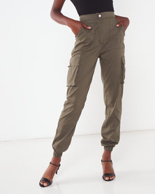 London Hub Fashion Utility Pocket Detail Cargo Trousers Khaki