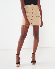 London Hub Fashion Button Front Patch Pocket Belted Mini Skirt Camel