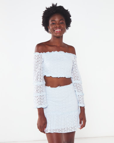 London Hub Fashion Broderie Lace Bardot Crop Top & Frill Hem Mini Skirt Co Ord Set Light Blue