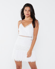 London Hub Fashion Lace Trim Pom Pom Strappy Mini Dress White