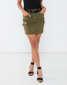 London Hub Fashion Utility Waist Belt Denim Mini Skirt Khaki