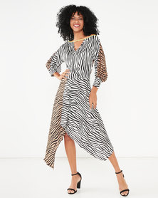 Liquorish Mix Zebra Print Asymmetric Hem Midi Dress With Batwing Sleeves Multi