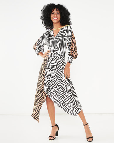 Liquorish Mix Zebra Print Asymmetric Hem Midi Dress With Batwing Sleeves Multi