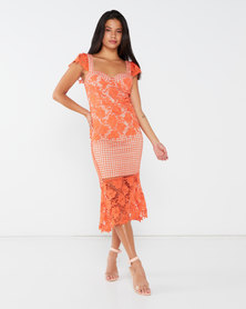 Liquorish Coral Lace With Contrast Lining Midi Dress Orange