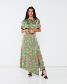 Liquorish Asymmetric Floral Maxi Dress Green