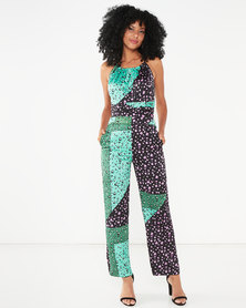 Liquorish Mixed Print Halter Neck Jumpsuit Green