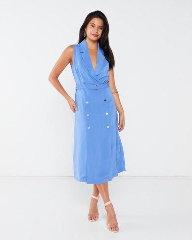 Liquorish Sleeveless Blazer Midi Dress Blue