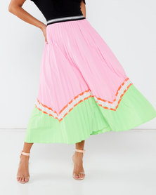 Liquorish Colour Block Pleated Midaxi Skirt Pink Neon