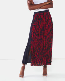 Liquorish Zebra Print Pleated Midi Skirt Black/Red