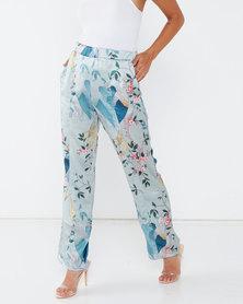 Liquorish Bird Print Wide Leg Trousers Co Ord