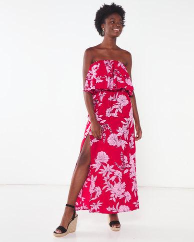 London Hub Fashion Floral Boobtube Maxi Dress Red