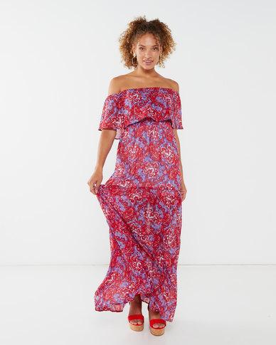 London Hub Fashion Boobtube Maxi Dress Multi Floral