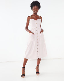 London Hub Fashion Stripe Button Down Midi Dress White