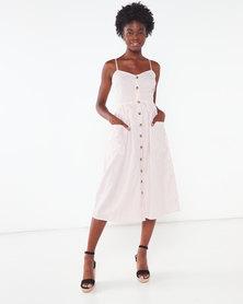 London Hub Fashion Stripe Button Down Midi Dress White