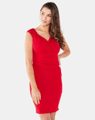 City Goddess London Bardot Pleated Midi Dress Red