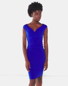 City Goddess London Royal Bardot Pleated Midi Dress Blue