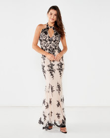 City Goddess London Sequin Embroidered Halterneck Maxi Dress Nude