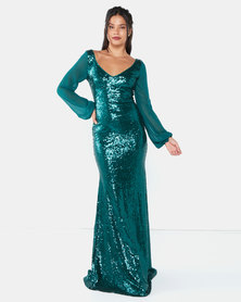 City Goddess London Sheer Sleeved Sequined Dress Emerald
