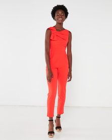 City Goddess London Bow Front Jumpsuit Orange