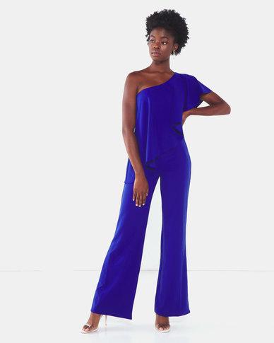 City Goddess London One Shoulder Frilled Jumpsuit Royal Blue