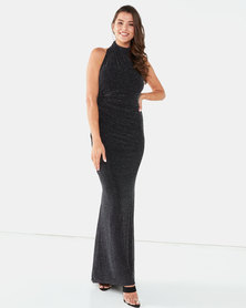 City Goddess London Halter Neck Glitter Maxi Dress Black