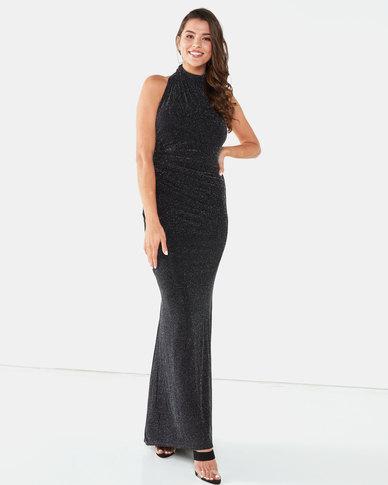 City Goddess London Halter Neck Glitter Maxi Dress Black