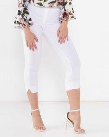 City Goddess London Slim Leg Slit Ankle Bengaline Stretch Trousers White