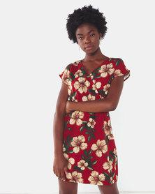 City Goddess London Cosmochic Floral Print Mini Dress Red