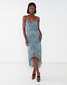 City Goddess London Hand Embellished Sequin Layered Midi Dress Blue