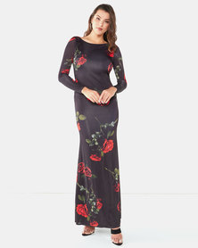 City Goddess London Open Back Long Sleeves Floral Print Maxi Dress Black