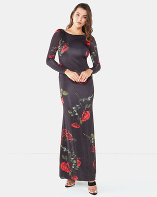 City Goddess London Open Back Long Sleeves Floral Print Maxi Dress Black