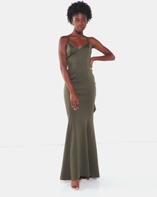 City Goddess London Fishtail Maxi Dress with Open Back and Waterfall Frills Khaki