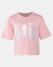 Converse Girls Coastal All Star Metal Boxy Tee Pink