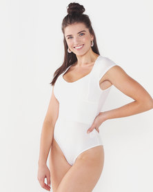 QUIZ Cap Sleeve Rib Bodysuit Cream