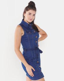 QUIZ Denim Sleeveless Button Front Dress Blue