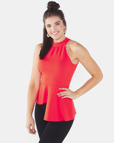 QUIZ Halter Neck Asymmetric Peplum Top Orange