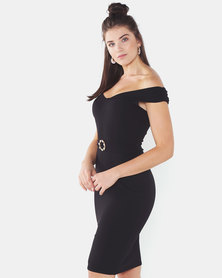 QUIZ Bardot Midi Dress Black
