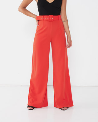 QUIZ Belted Palazzo Pants Orange