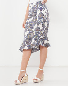 QUIZ Satin Paisley Asymmetric Skirt Cream/Navy