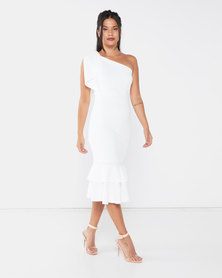 QUIZ One Shoulder Double Frill Midi Dress Cream