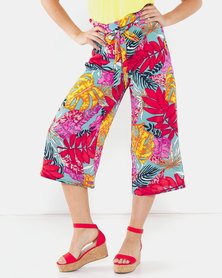 QUIZ Highwaisted Culotte Pants Red/Pink/Orange