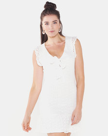 QUIZ Tie Front Dress White