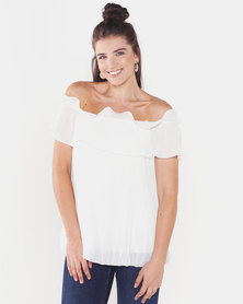 QUIZ Bardot Frill Top Cream