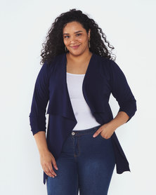 QUIZ Curves Navy 3/4 Sleeve Waterfall Jacket