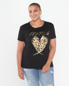 QUIZ Curves Fierce Loveheart T-Shirt Black