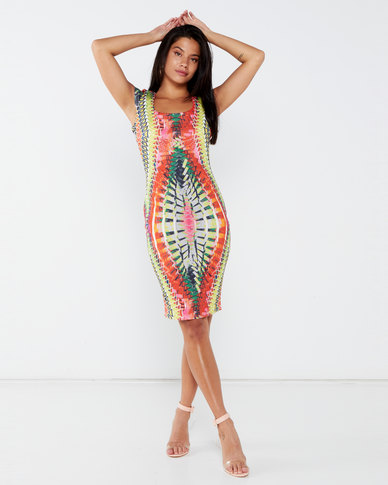 City Goddess London Tribal Print Bodycon Midi Dress Multi